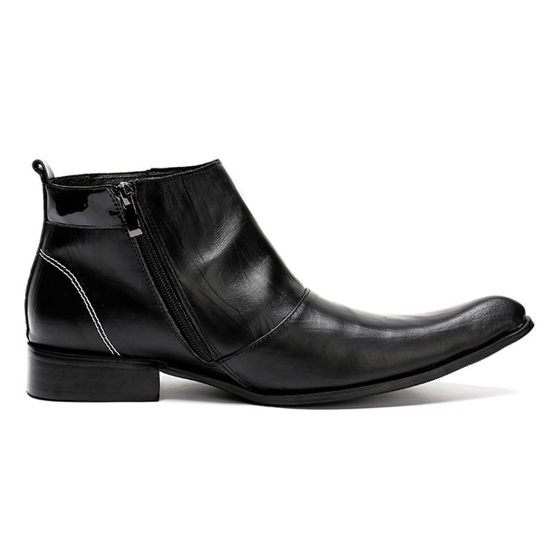 De Plus En Sl133 Qualité Véritable Homme Bascule Hommes Équitation Noir Chaussures Pointu La Broderie Cuir Bout Luxe Bottines Taille Haute À Main jARL354