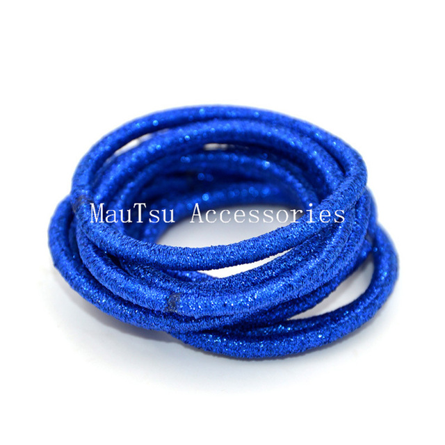 50PCS 4mm Sapphire glitter elastic hair bands ponytail holders with gluing  connection cc7f861f0fb9