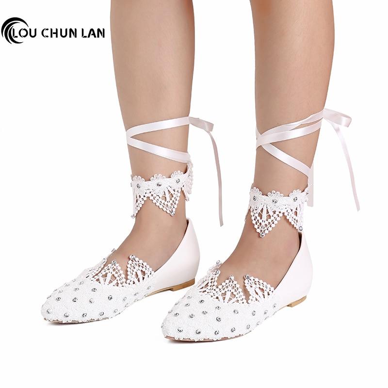 Felnőttek Lakások Cipők Esküvői cipők Női cipők Fehér csipke gyöngy gyémánt asztali menyasszony kör alakú lábujj cipő nagy méretű 41-52