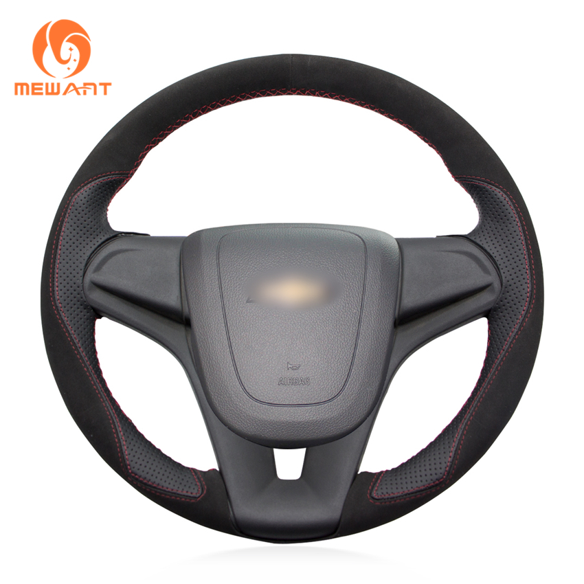 MEWANT Black Suede Black Leather Car Steering Wheel Cover for Chevrolet Cruze 2009-2014 Aveo 2011-2014 Orlando 2010-2015 Holden color my life car steering wheel sequin steering wheel decoration cover sticker for chevrolet trax cruze 2013 2014 2015 2016