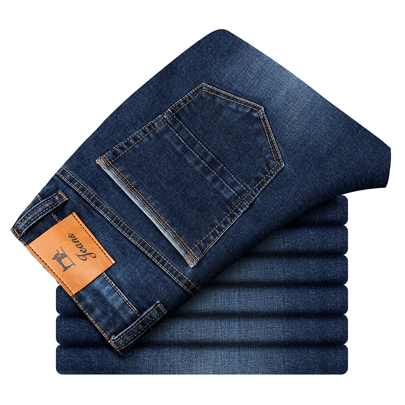 Autumn Winter Mens Stretch   Jeans   Casual Fit Loose Relax Denim Trousers Pants Plus Size 35 36 38 40 42