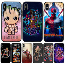 Marvel Groot Avengers Luxury For iPhone X XR XS Max 5 5S SE 6 6S 7 8 Plus phone Case Cover phone Funda Coque Etui Spider-Man spider man into the spider verse for funda iphone xs max case cover for case iphone 6s plus 5 5s se 6 7 8 plus xr x cases cover