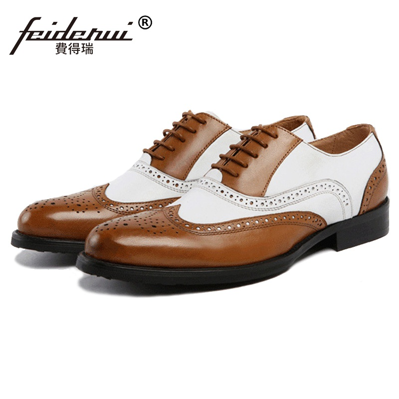Luxury Mixed Colors Brand Carved Man Dress Shoes Genuine Leather Brogue Oxfords Round Toe Formal Men's Wing Tip Flats BD42