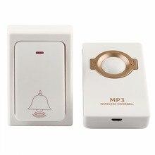 Водонепроницаемый Беспроводной Дверные звонки с 1 автономным питанием кнопку пульта и 1 приемник MP3 цифровой Long Range для дома безопасности F1753B