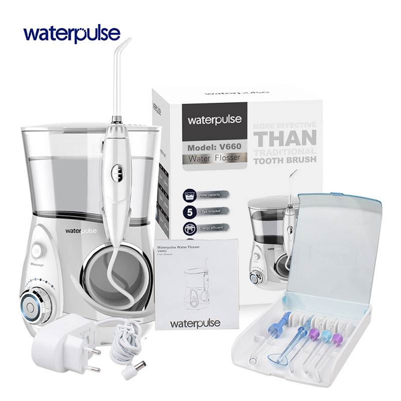 Waterpulse V660 Dentale Acqua Fili e cotoni per ricamo er 700 ML Pro Orale IrrigationDental Fili e cotoni per ricamo di Irrigazione di Massaggio Pulito Dente Fili e cotoni per ricamo Igiene Orale