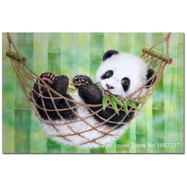 baby panda eating bamboo cute diamond painting animal diamond