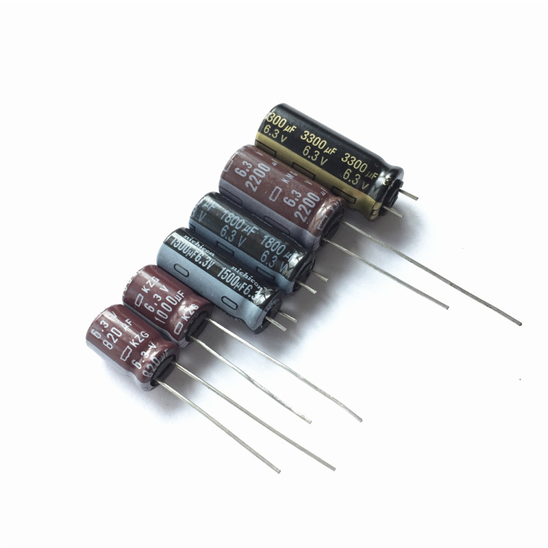 6Value 60pcs 6.3V 820uF 1000uF 1500uF 1800uF 2200F 3300uF 6.3V For Motherboard Repair Aluminum Electrolytic Capacitor Kit