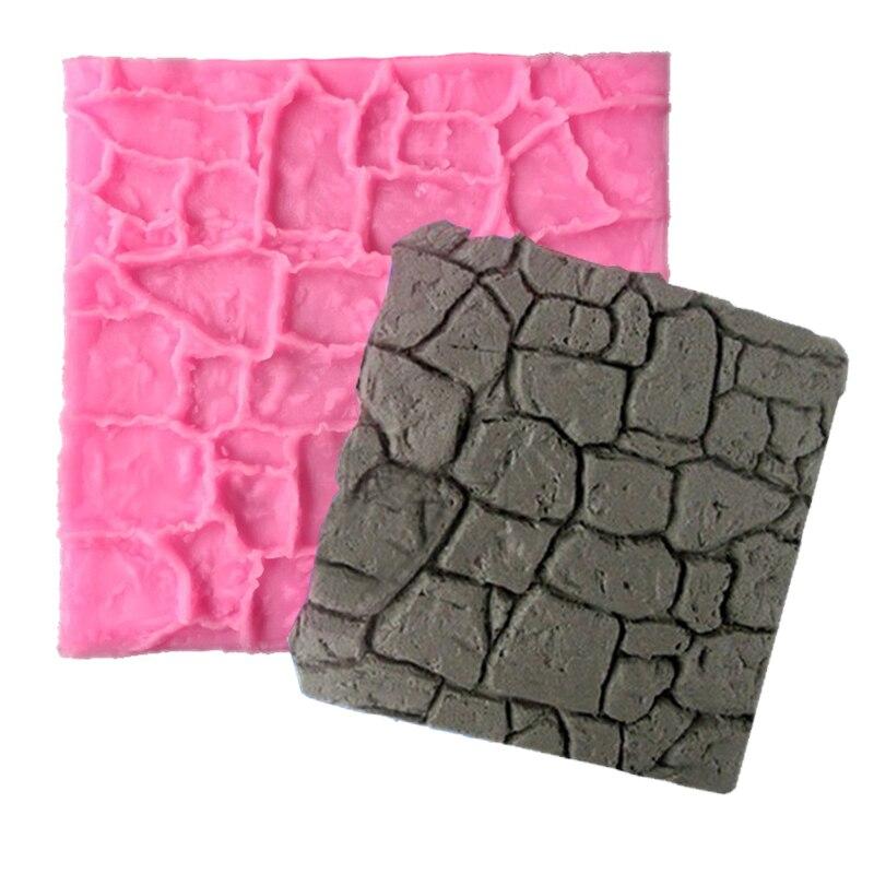 Stone Rock Rocky Wall Line Texture Fondant Cake Decoration Silicone Impression Lace Border Mat Gum Paste Moulds