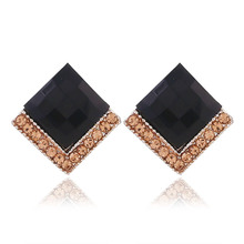 Hot Sale Fashion Rhombic Zircon Crystal Earrings For Women Accessories Korean Style Girl Gifts Dropshipping