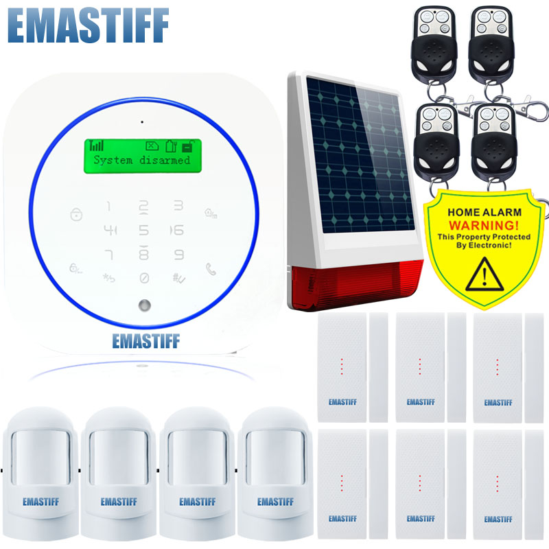 Free shipping.Ultra thin Android Smart Home Alarm System Touch Panel Gsm Alarm System Wireless Outdoor Solar Powered Flash Siren high quality solar spot alarm system kit 433mhz wireless outdoor siren with bright flash to make powerful warning