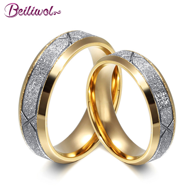 Beiliwol Fashion Wedding Rings for Women & Men Frosted Matte X Stainless Steel CZ Stone Engagement Couple Ring Anniversary Gift