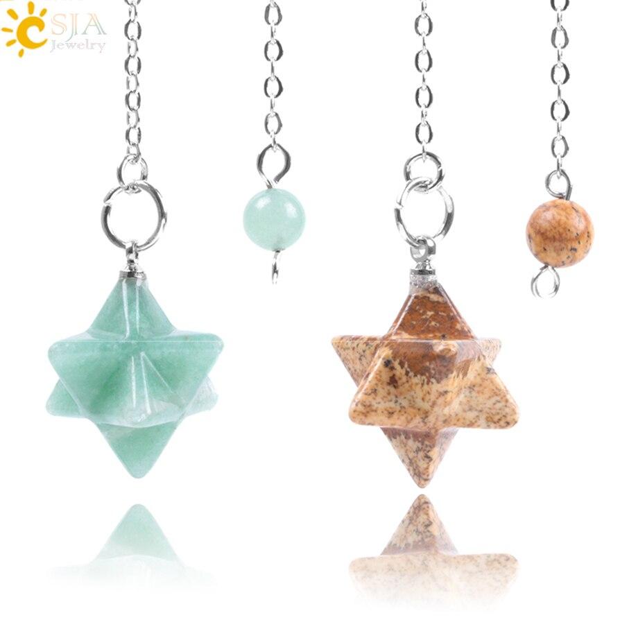 CSJA Natural Gem Stones Merkabah Pendulums for Dowsing Divination Wicca Chakra Reiki Pink Crystal Lapis Lazuli Onyx Pendant F055 ...