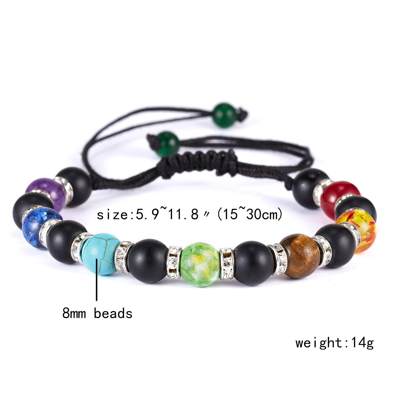 Classic Chakra 8mm Lava Stone Beads 7 Color Chain Bracelets for Women Men Elastic Rope Yoga Fashion A Bracelet Friendship 11