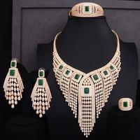 GODKI 119MM Long Tassel Drop Luxury Women Bridal Cubic Zirconia Ring Bangle Necklace Earring Dubai Jewelry Set Jewellery Addict