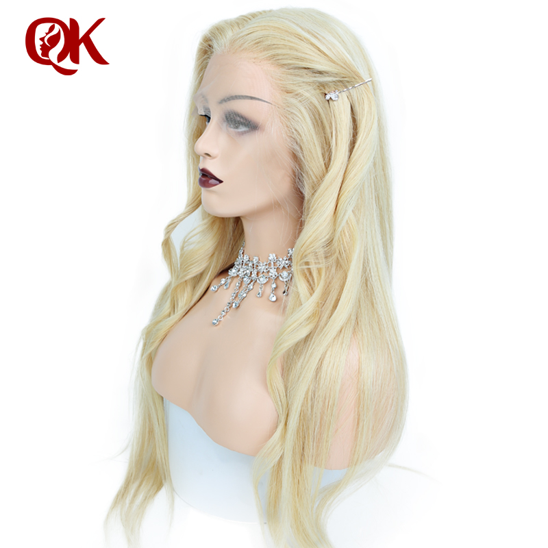 QueenKing hair Lace Front Wig 130% Density 613 Silky Straight Preplucked Hairline 100% Brazilian Human Remy Hair