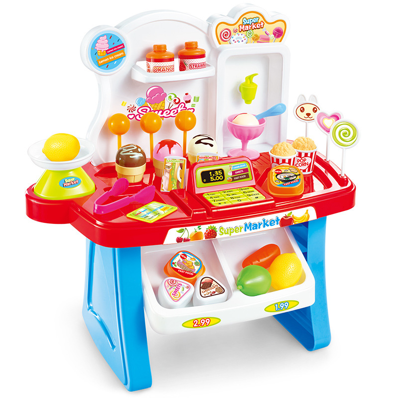 Pretend Play Real life supermarket checkout counter Fruits Cake Toys kid's Party game toys Food Candy Kitchen Toys Kindergarten