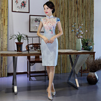 Sexy Slim Chinese Style Dress Women Prom Party Gowns Vintage Mandarin Collar Cheongsam Printed Lady Qipao Stage Show Clothes