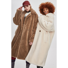 JAZZEVAR Winter New Fashion Teddy Bear Icon Coat X-Long Real Sheep Fur Oversized Parka Thick Warm Outerwear