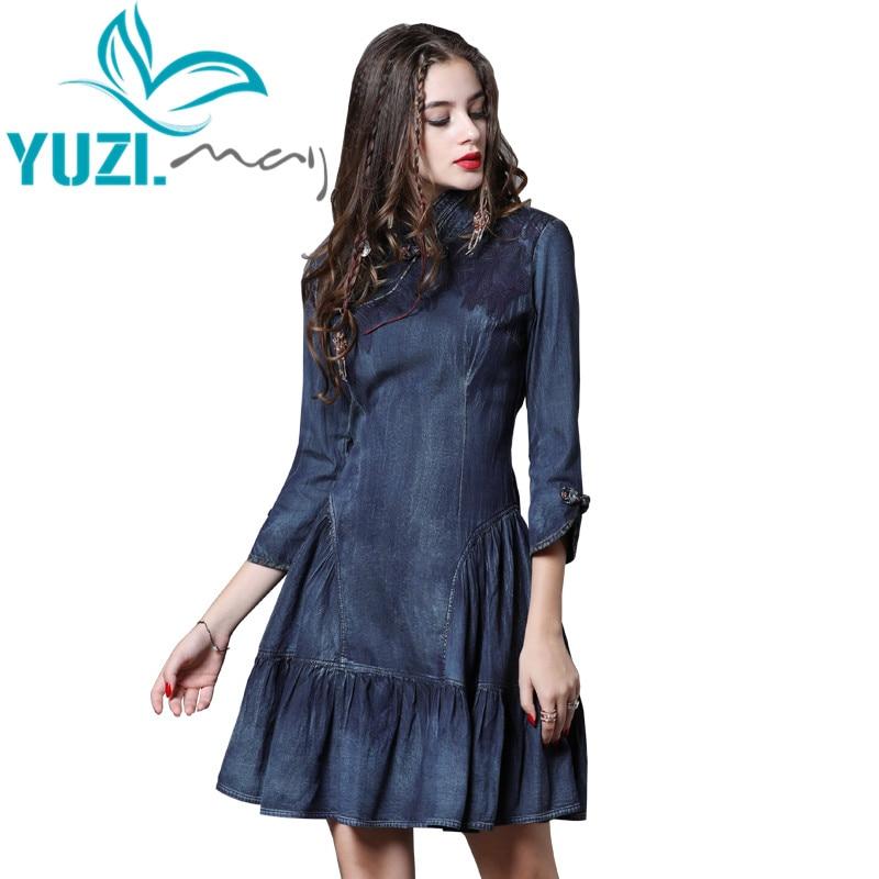 Dress Women 2018 Yuzi.may Boho New Autumn Denim Women Dresses A line Elegant Mandarin Collar Vintage Vestidos A82111 Vestido-in Dresses from Women's Clothing    1