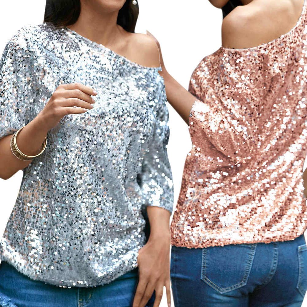 503577984bc Sexy Women Loose Off Shoulder Sequin Glitter T shirt Summer Casual Shirts  Vintage Streetwear Party Top