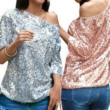 50bd99935640c7 Sexy Frauen Lose Off Schulter Pailletten Glitter T shirt Sommer Casual  Shirts Vintage Streetwear Partei Top Rosa/Silber T-shirt .