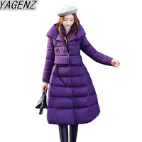 YAGENZ Women S Long Sleeve Cotton Padded Jacket 2017 Fashion Solid Color Casual Cotton Coat Women