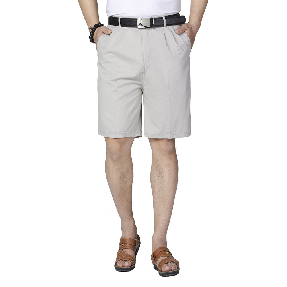 Middle-aged Casual Shorts Loose Cotton Thin Men Suit Short Trousers Summer Dad Clothing Brand Solid Color Shorts Plus Size 28-40