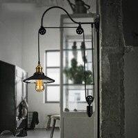 Loft Stil Antike Teleskoplift Edison Wandleuchte Glas Spiegel Wandleuchte Vintage Wand Leuchten Für Hauptbeleuchtung-in Wandleuchten aus Licht & Beleuchtung bei