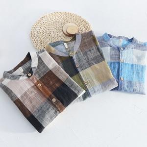 Image 5 - MOGELAISI koszule w szkocką kratę marki mężczyźni moda z długim rękawem bawełna lniana koszula wygodne miękkie człowiek wysokiej jakości jesienna odzież 731