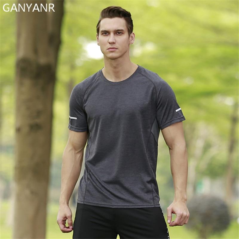 GANYANR Running T Shirt Men Short Sleeve Basketball Tennis Tee Sport Fitness Sportswear Gym Jogging Tops Rashgard Exercise Sweat