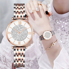 цены YOLAKO Women Bracelet Watch 2019 Top Brand Luxury Full Diamond Quartz Watch Ladies Rose Steel Belt Waterproof Clock Reloj Mujer