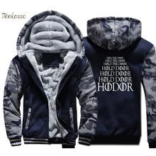 Game of Thrones Hoodie Men House Stark HODOR Hold Door Sweatshirt Casual Coat Winter Thick Fleece Jacket Hip Hop Streetwear 4XL