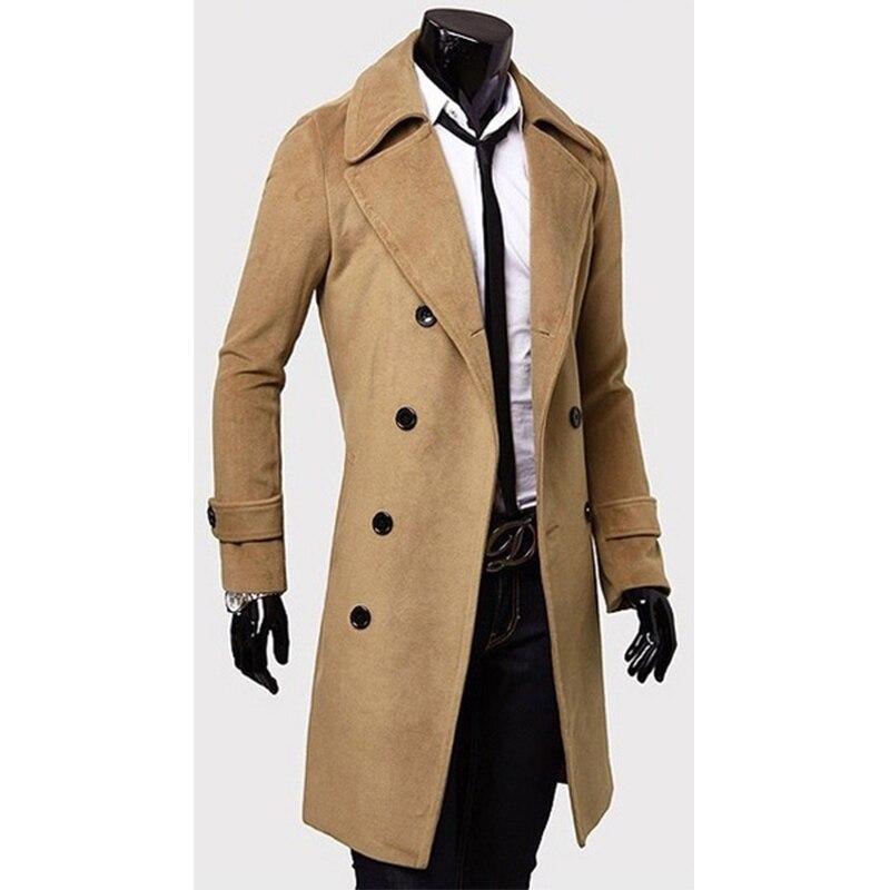 ZOGAA 2019 Fashion Winter Men British Style   Trench   Coat Long Slim Fit Overcoat Jacket Wind Coats Outerwear Tops Men Wool Coat