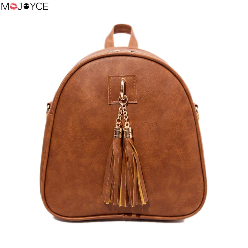 2017 Female PU Leather Shoulder Bag Fashion Women Mini Tassel Backpack Female Girls School Bag Ladies Simple Travel Rucksack  2016 high quality fashion new women backpack pu leather ladies shoulder bag college frosted backpack wild simple mini school bag