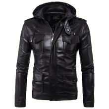 2017 Autumn New Leather Clothing Men's Wear Motorcycle Leather Jacket Leather Men's Hooded Leather Jacket
