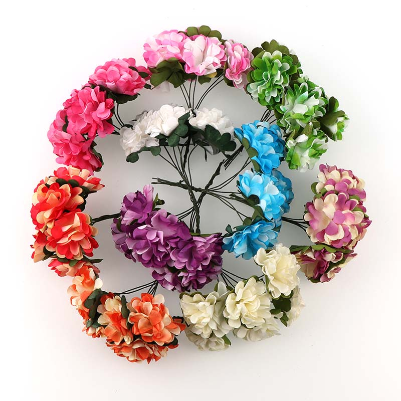 Hot 6pieces 3cm Artificial Flowers Paper Rose Highland Flower For DIY Scrapbooking Wreath Wedding Decoration Fake FLowers
