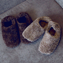 Free Shipping 2 Color Warm Imitation Suede Sole At Home Shoes Floor Slip-Resistant Comfortable Home Slippers for Men and Women