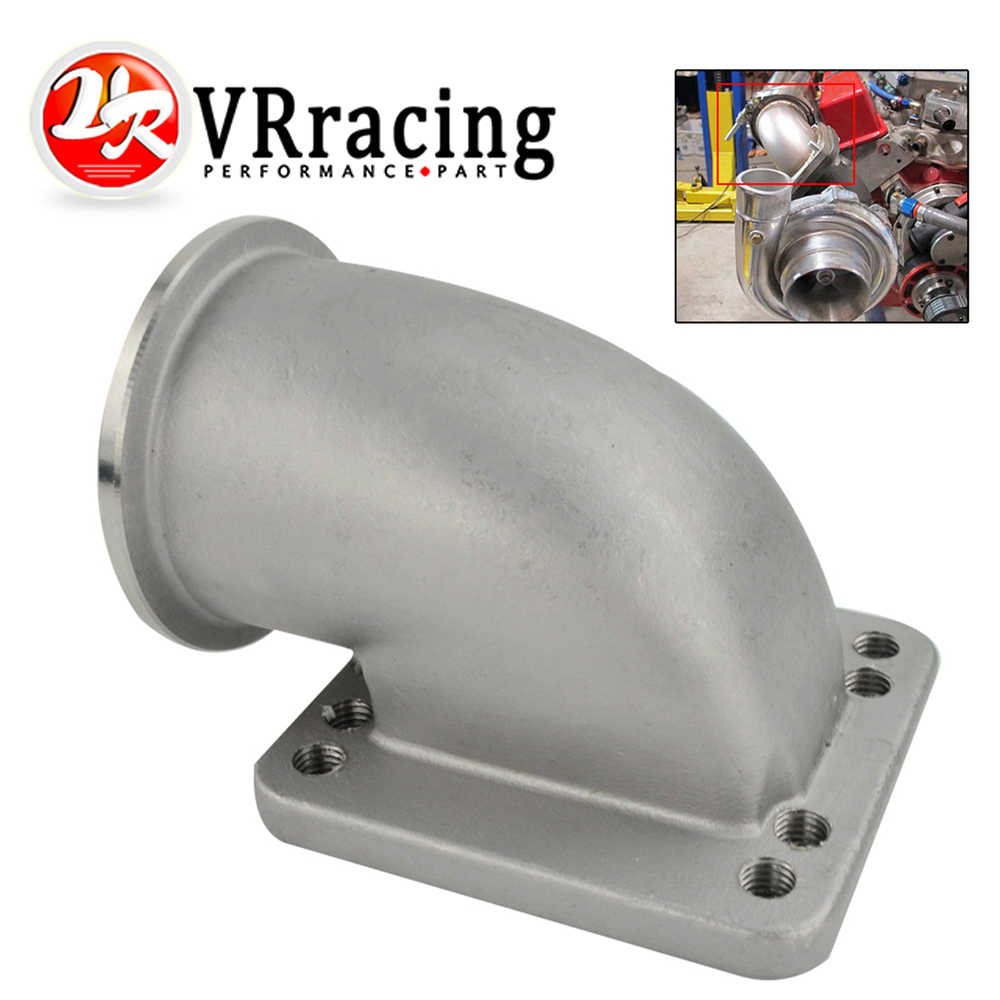 "VR - 2.5"" Vband 90 Degree Cast Turbo Elbow Adapter Flange 304 Stainless Steel For T3 T4 Turbocharger VR-TEA25"