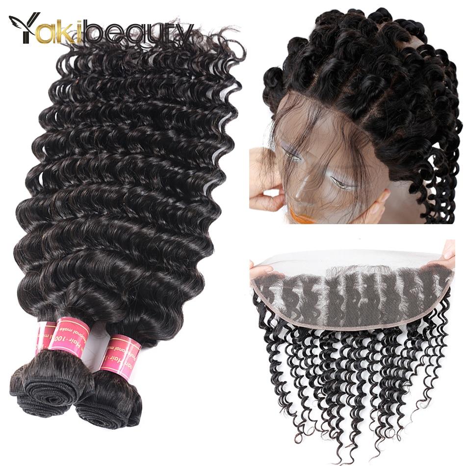 Deep Wave Bundles With Frontal 13x4 Remy Human Hair 3 Bundles With Frontal 8-28inch Indian Hair Bundles With Closure 100g/pcs