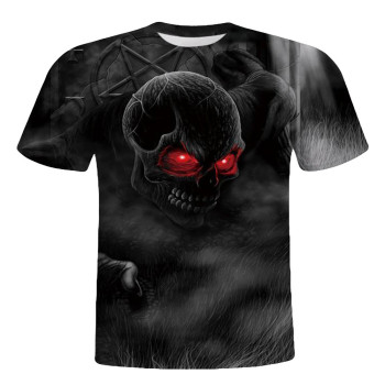 Men Skull Printed Short Sleeve O Neck Hip Hop T Shirt