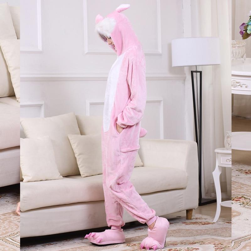 Cute Pink Bunny Cartoon Animal Hooded Long Sleeve Onesie Adult Winter animal pajamas Rabbit For Women Cosplay Sleepwear