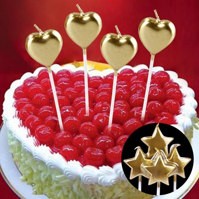 4 Teile/satz Kreative Goldenen Stern Liebe Herz Kuchen Topper Kind  Geburtstag Kerze Valentinstag Hochzeit