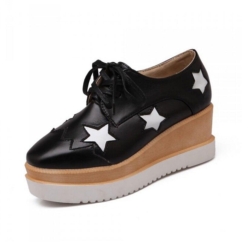 Plat 3 Derby Richelieu 1 Oxford 4 Verni En Dentelle forme Rond Cuir Chaussures Taille Bout Up Étoiles Z47 Grande 2 Femmes Plate 2017 5cTq61S4ww