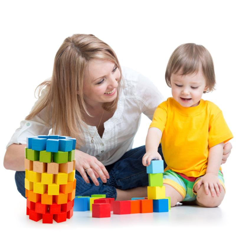 100pcs Colorful Wooden Building Blocks Square Wood Bricks Early Educational Baby Kids Child Children Toys Gift Present baby educational wooden toys for children building blocks wood 3 4 5 6 years kids montessori twenty six english letters animal