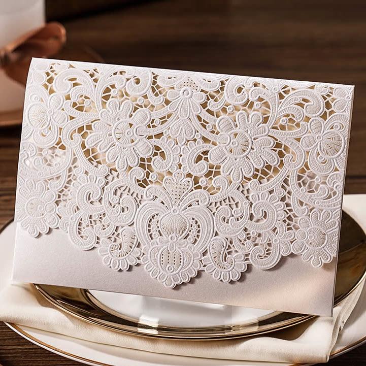 Clic Warm White Shiny Hollow Flowers Wedding Invitations Cards Cw073 Minimum Order 5