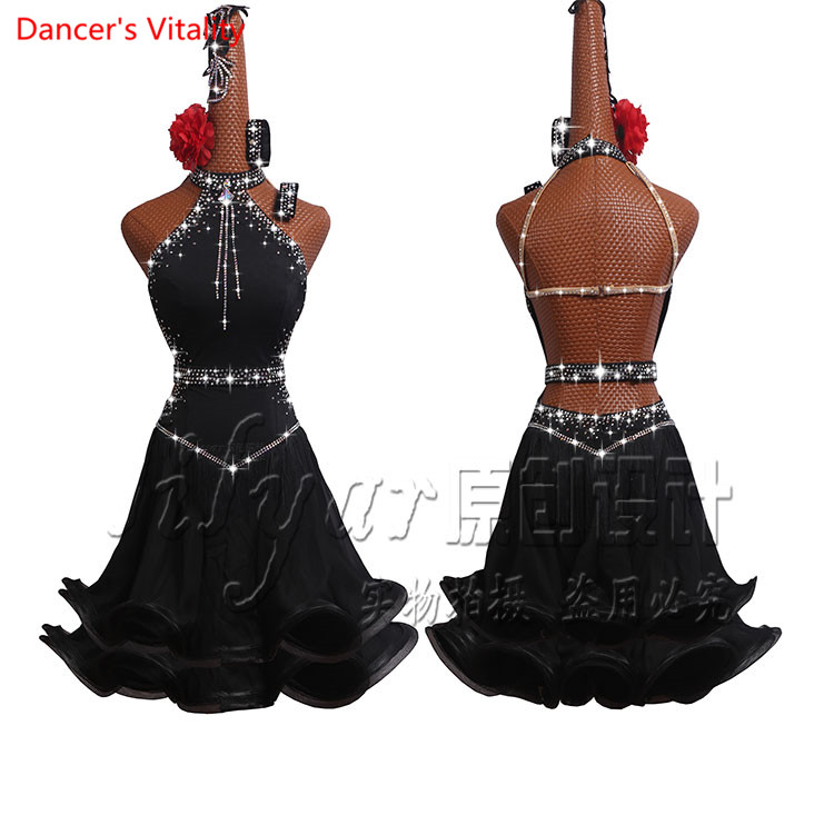 Latin Dance Dress Women Dancing Performance Competition Clothes Sexy Off Shoulder Fishbone <font><b>Coiling</b></font> Luxury Diamond Dress image
