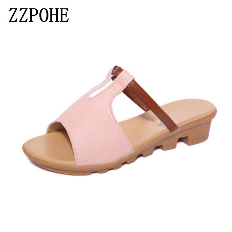 ZZPOHE 2017 Summer new Woman slippers Fashion Women flat Casual Flip Flops Sandals ladies soft bottom comfortable beach shoes new 1pair summer fashion women knotbow woman sandals shoes beach flat wedge flip flops lady girls slippers free shipping