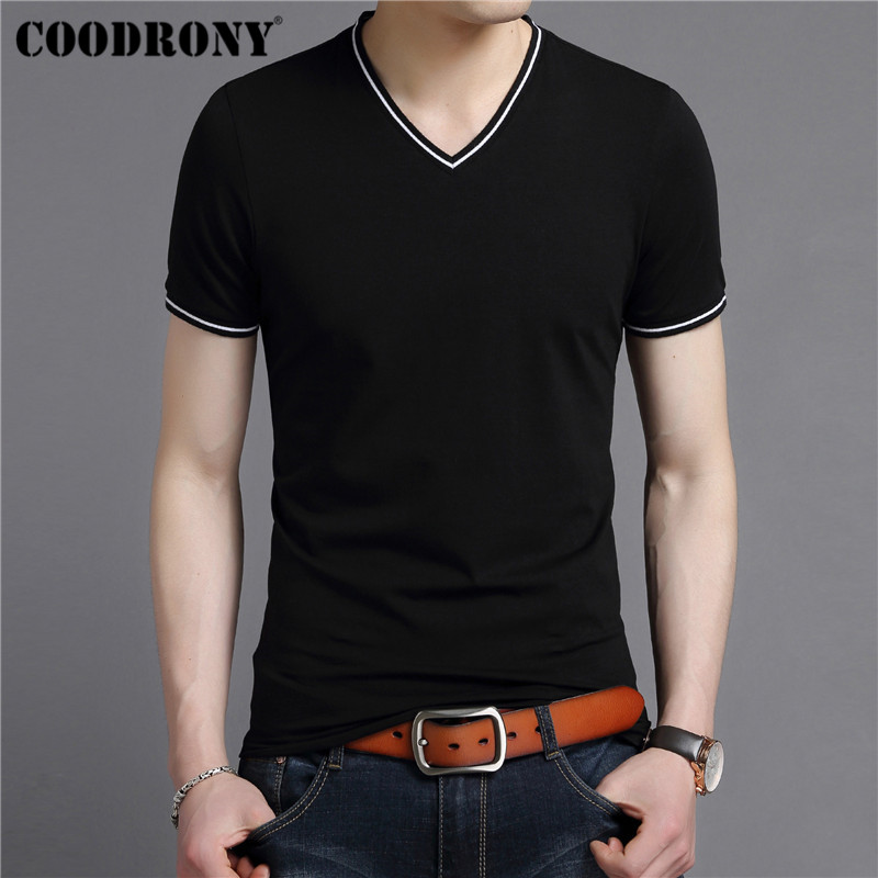 COODRONY Streetwear Casual V-Neck T Shirt Men Soft Cotton T-Shirt Men Clothing 2019 Summer Short Sleeve Tshirt Plus Size S95100
