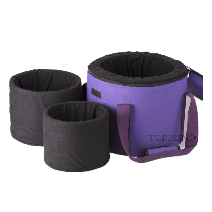 TOPFUND Heavy Duty Canvas Carrier for Crystal Singing Bowl ,Putting 12 and 10 and 8 Singing Bowl ,Purple color purple color carry bag for 7 8 hand held crystal singing bowls with heavy duty canvas carrier