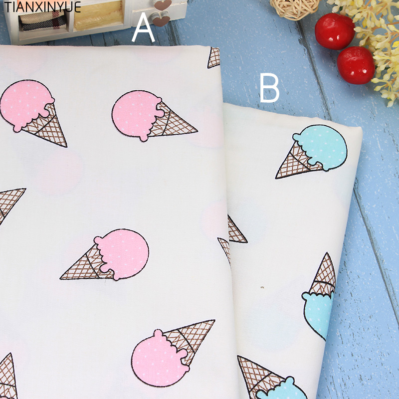 Big Size Ice cream cartoon Cotton Fabric quilting Baby Cloth Kids bedding patchwork tissue home Textile Sewing fabric